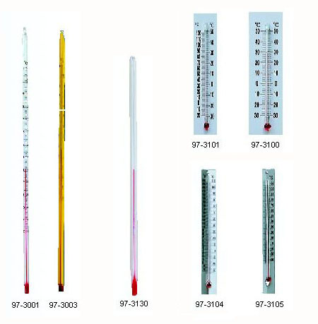Red-Filled Thermometers, w/ Plastic Back, Read Easy