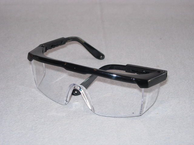Black frame spectacles, clear lens