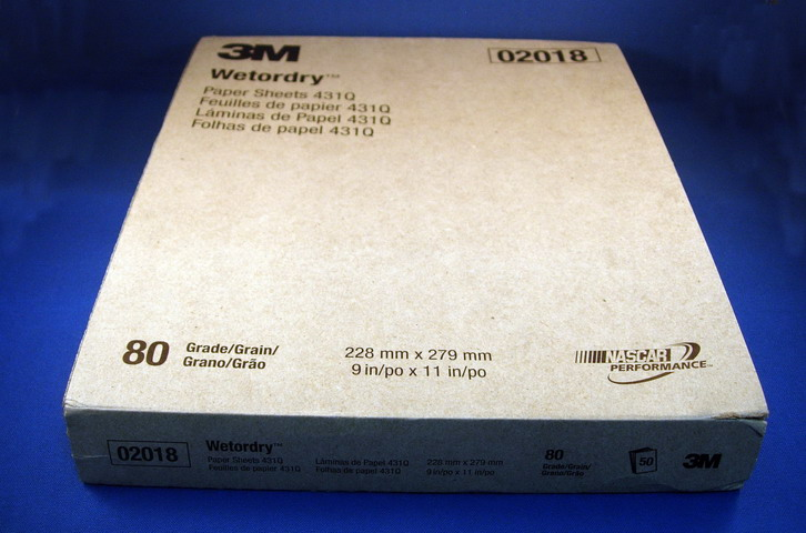 3M Wetordry Paper Sheet 431Q, C Weight Paper, Silicon Carbide, 80 grit