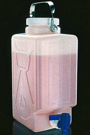 Rectangular Carboys with Spigot and Handle, High-Density Polyethylene - 20 Liters