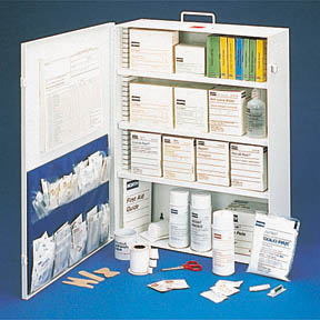 Large, Filled First Aid Cabinet, 100 person