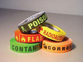 Hazard Communication Labels, Warning: CORROSIVE; Black/Orange